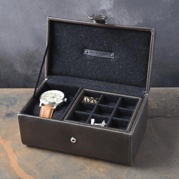 קופסה לאחסון שעון וחפתים , מתנה יוקרתית ליום הולדת